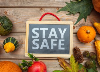 """photograph of """"Stay Safe"""" message among pumpkins and thanksgiving background"""