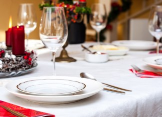 photograph of place settings at table for Christmas dinner
