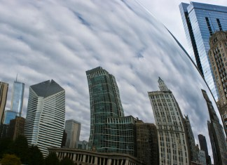 photograph of relection on Chicago Bean of skyline