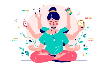 image of woman meditating surrounded by distractions