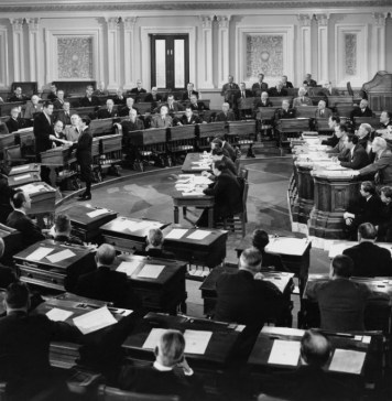 black-and-white photograph of U.S. congress in session