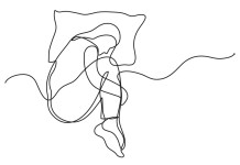 simple single-line drawing of person curled up in bed