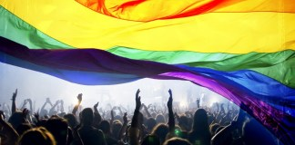 photograph of rainbow flag with silhouette figures crowded beneath it