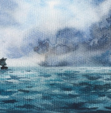 painting of sailboat at sea with darkening clouds