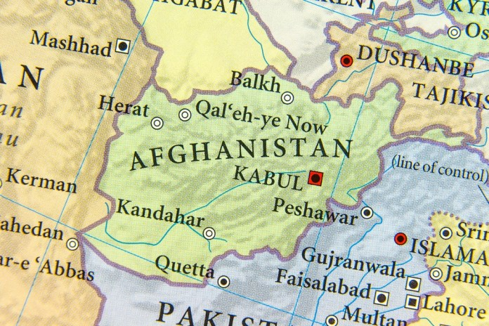 image of topographic map of Afganistan and surrounding countries