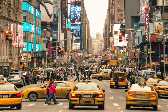 photograph of NYC at rush hour