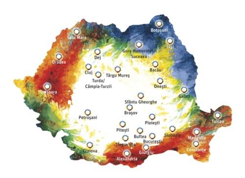 harta cu orasele incluse in Saptamana Neuropatiei Diabetice 2014