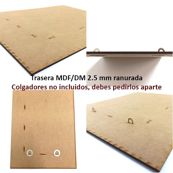 traseras a medida para enmarcación (dm 2.5 mm ranurado + colgadores planos)