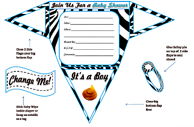 Whether you're the guest of honor or just a guest, make your shower a total blast with our four free games. Boy Diaper Baby Shower Invitations Printable Diaper Shaped Invites
