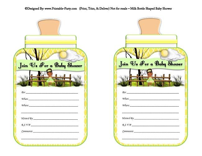 Printable Bottle Baby Shower Invitations Milk