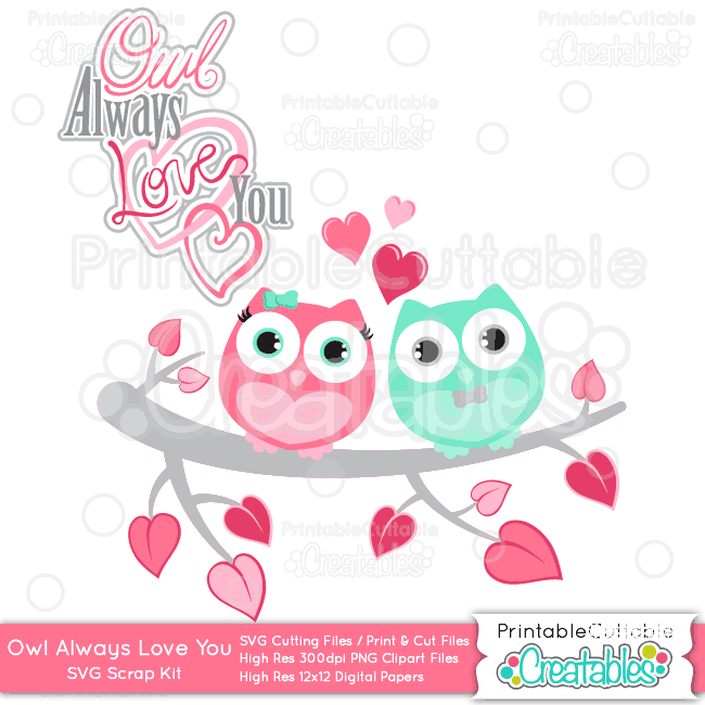 Download Owl Always Love You Valentine SVG Cutting Files & Clipart Set