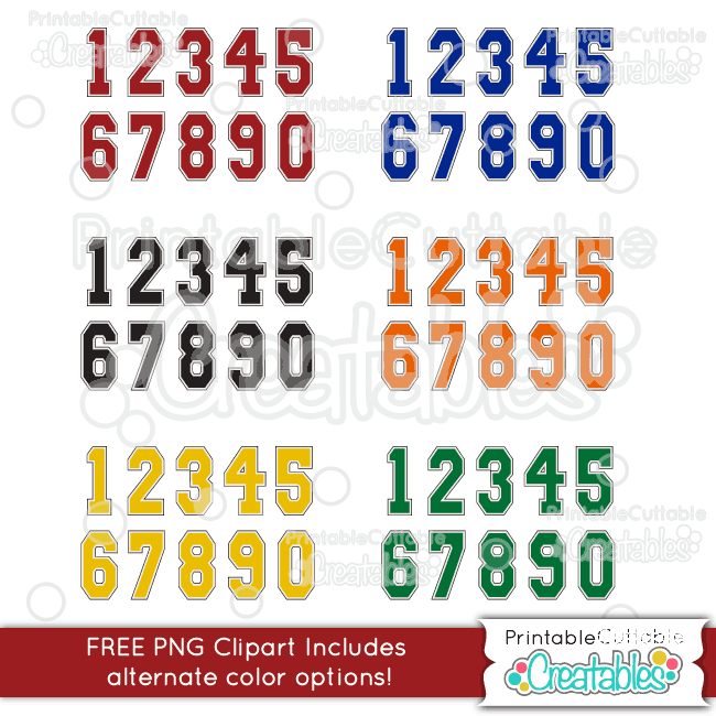 Download Varsity Numbers FREE SVG Cut Files & Clipart Set