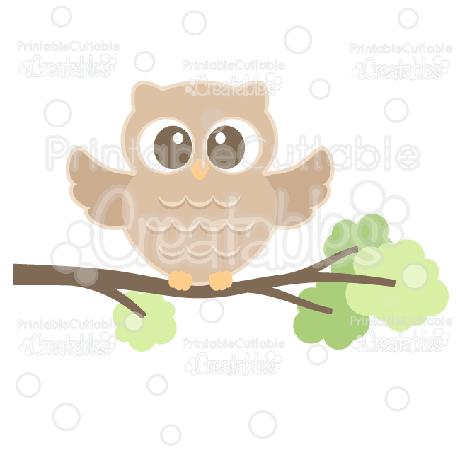 Download Cute Woodland Owl Cuttable SVG File & Clipart for ...