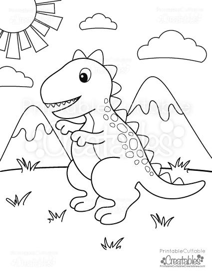 Free Printable T Rex Dinosaur Coloring Page Printable Cuttable Creatables