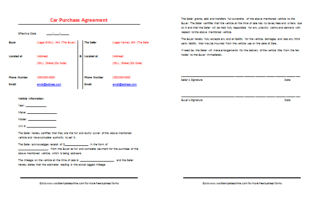 car sale contract with payments template
