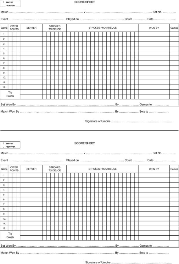 Table Tennis Score Sheet Singles – Tennis Score Sheet
