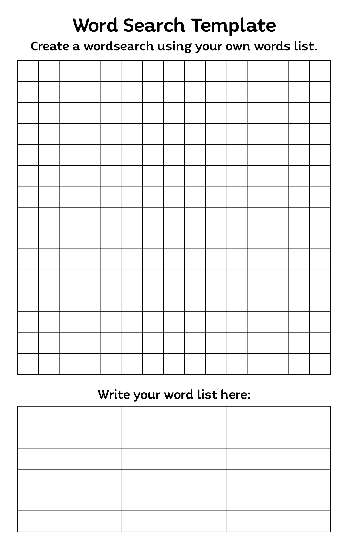 4 Best Images Of Blank Word Search Puzzles Printable
