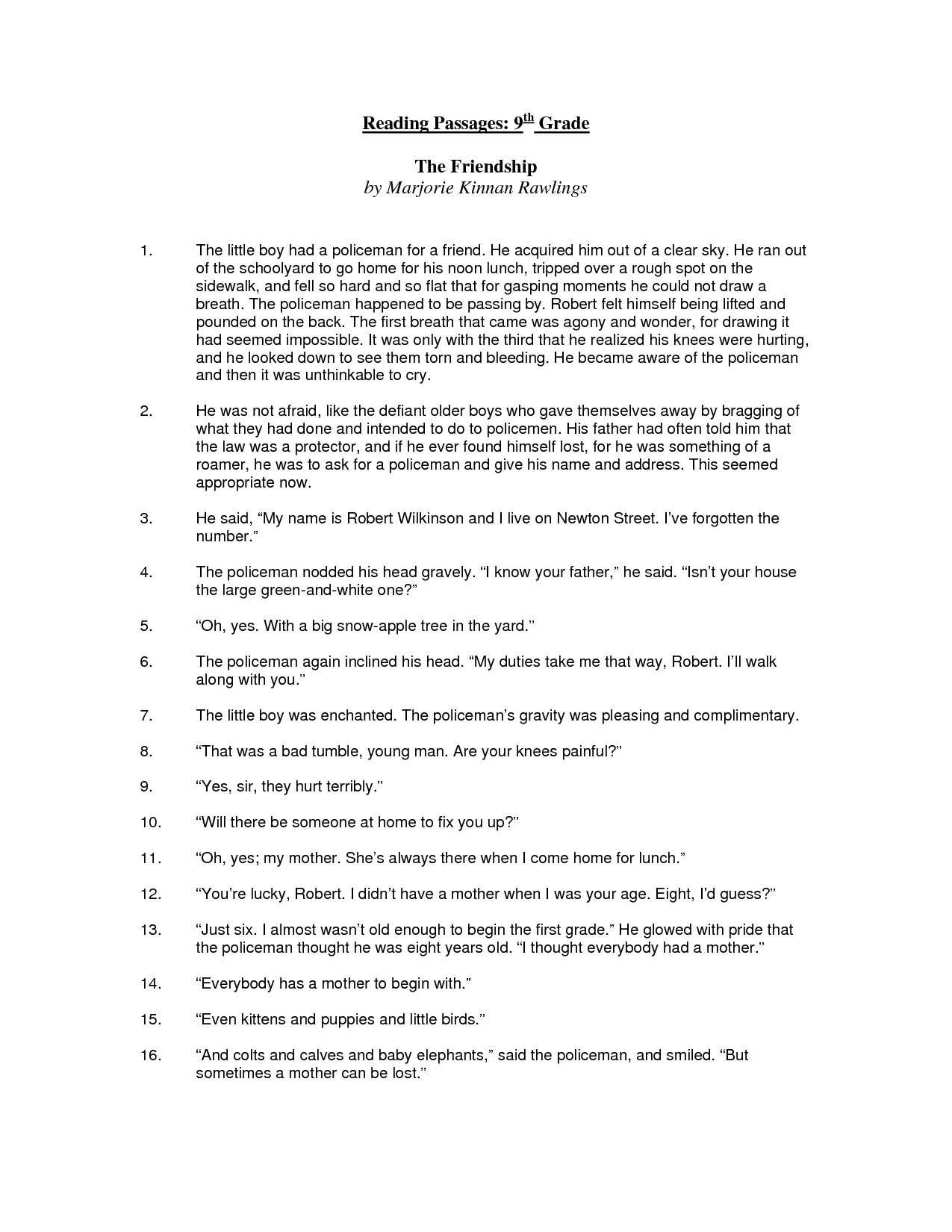 Reading Comprehension Worksheets 6th Grade Free Printable