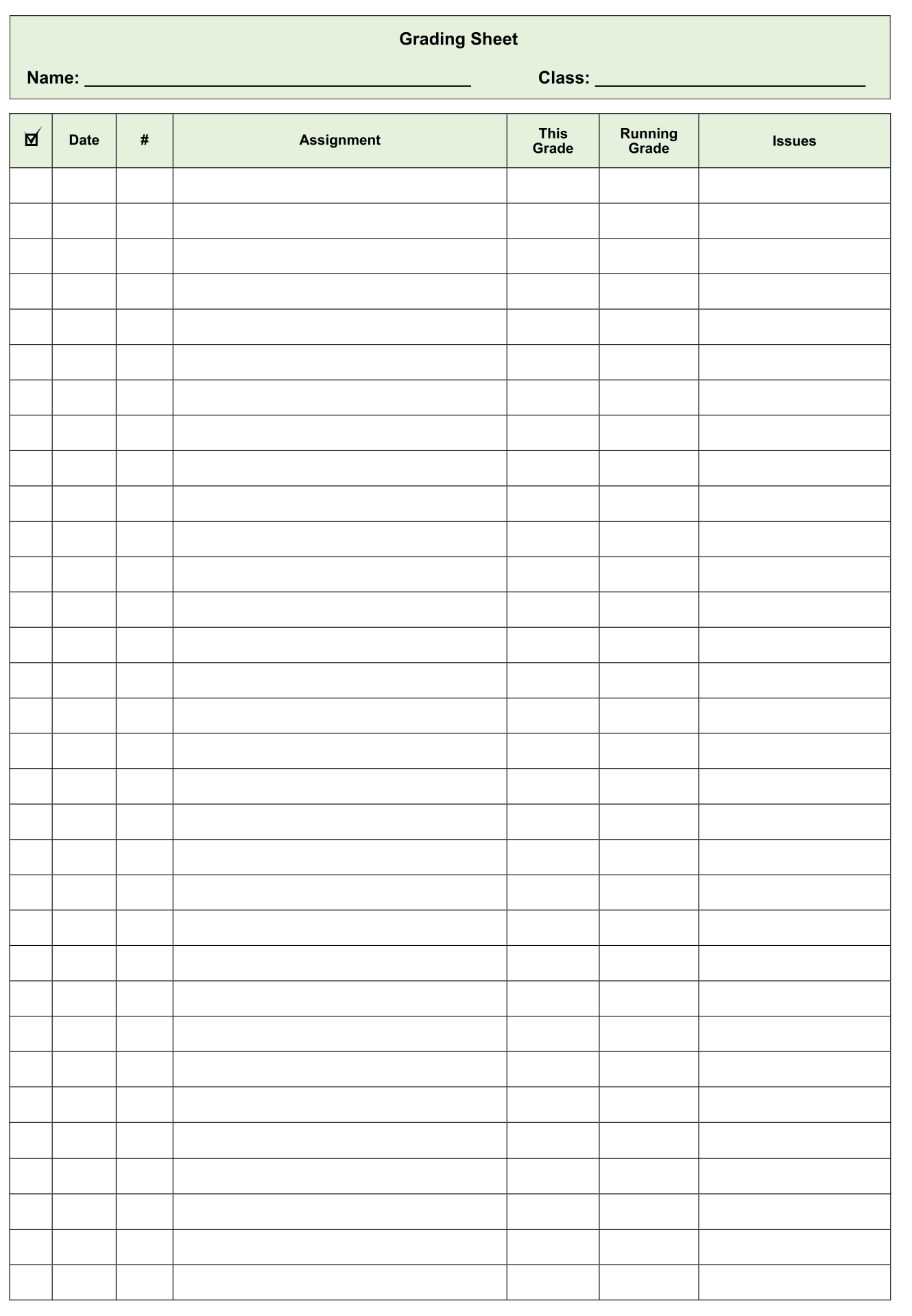 9 Best Printable Grade Sheets For Teachers