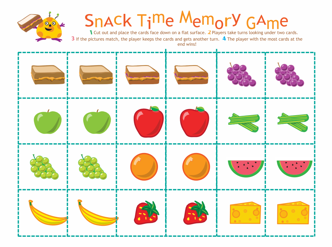 4 Best Images Of Food Memory Game Printable
