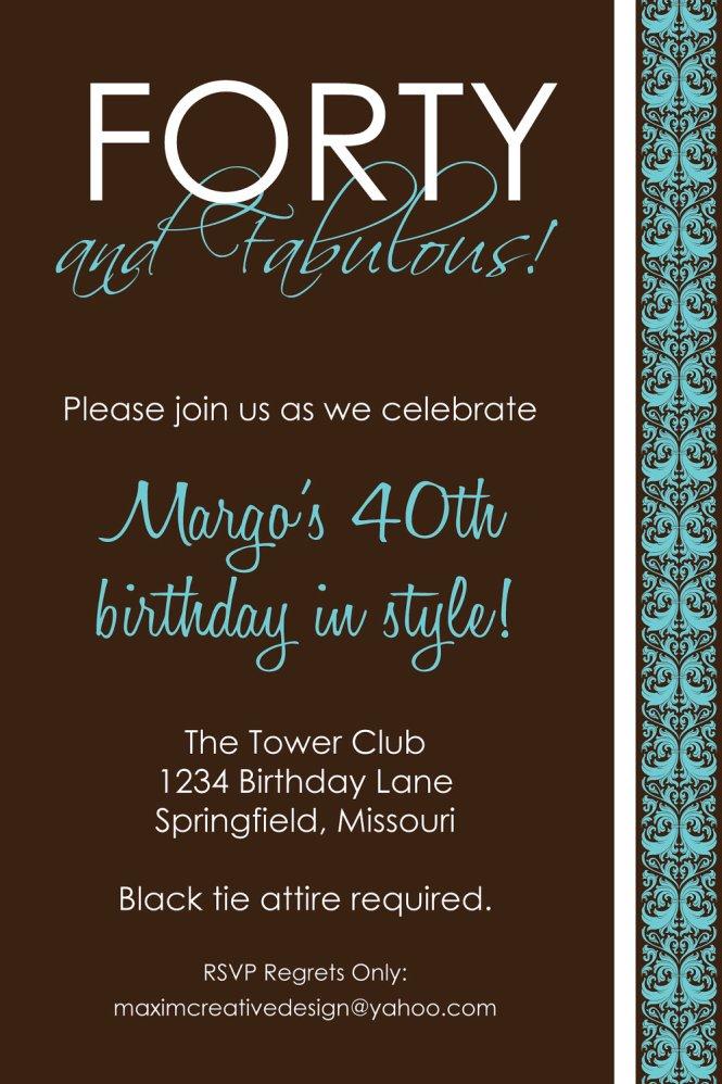 40Th Birthday Invitations Ideas Wedding Invitation Sample – 40th Birthday Party Invitation Ideas