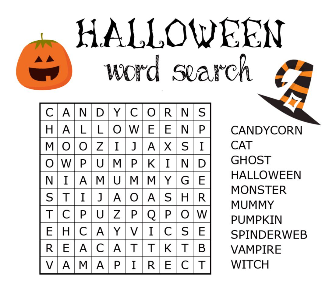 4 Best Images Of Printable Halloween Word Search