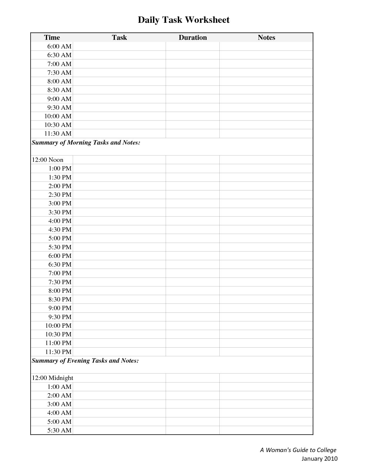 6 Best Images Of Printable Task Worksheet