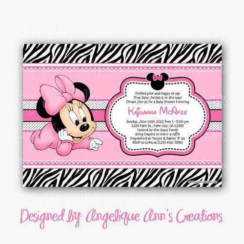 pink zebra print baby shower invitations, Baby shower invitations