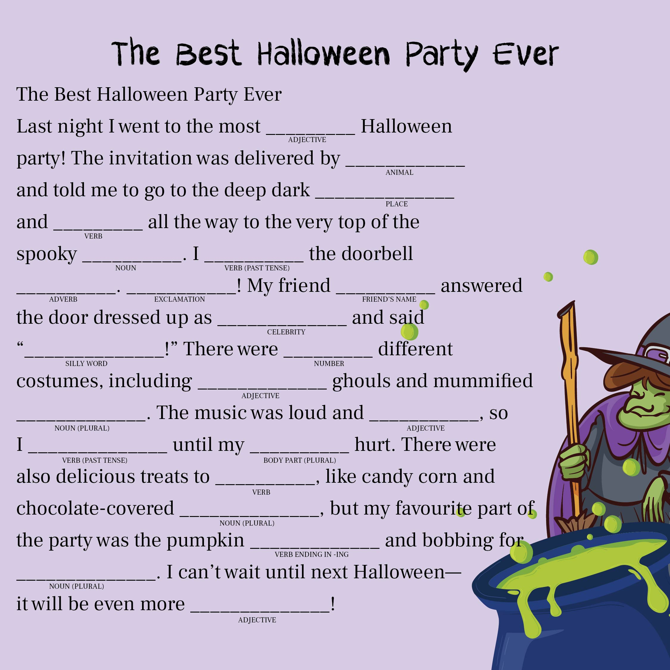 4 Best Images Of Adult Halloween Mad Libs Printable