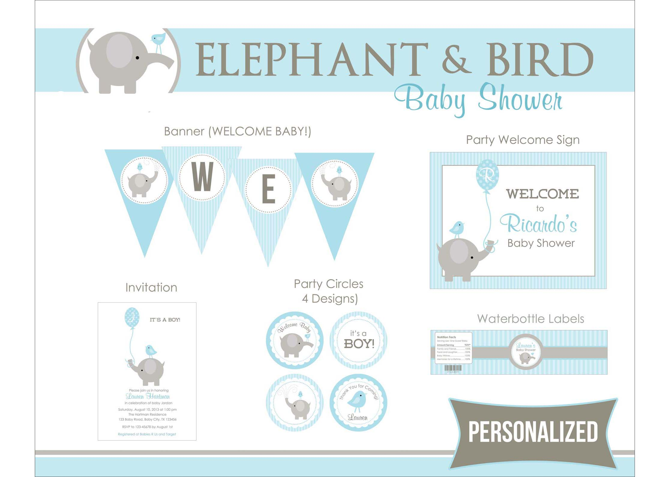 Elephant Baby Shower Printables