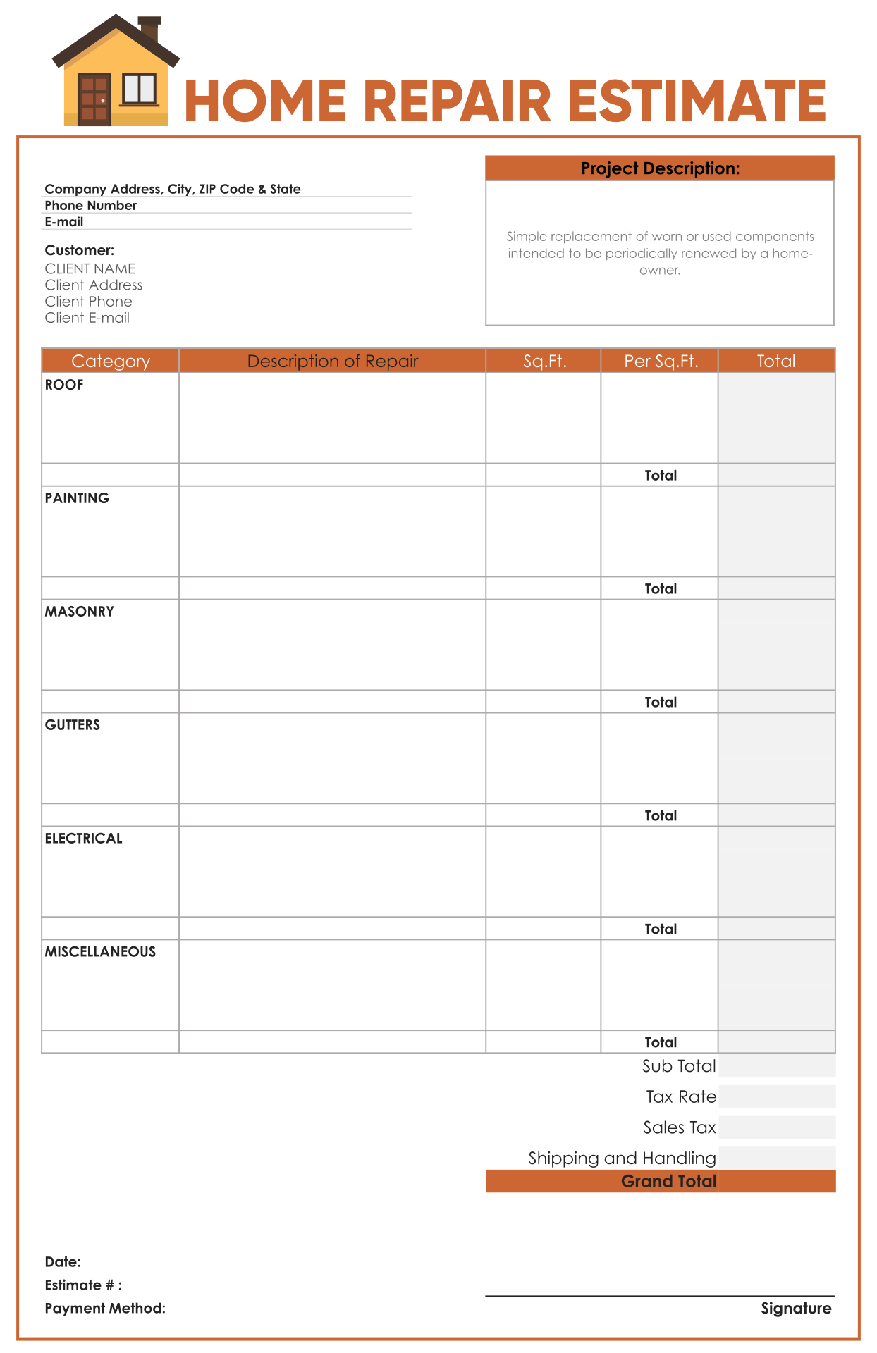 9 Best Images Of Roofing Estimate Templates Printable