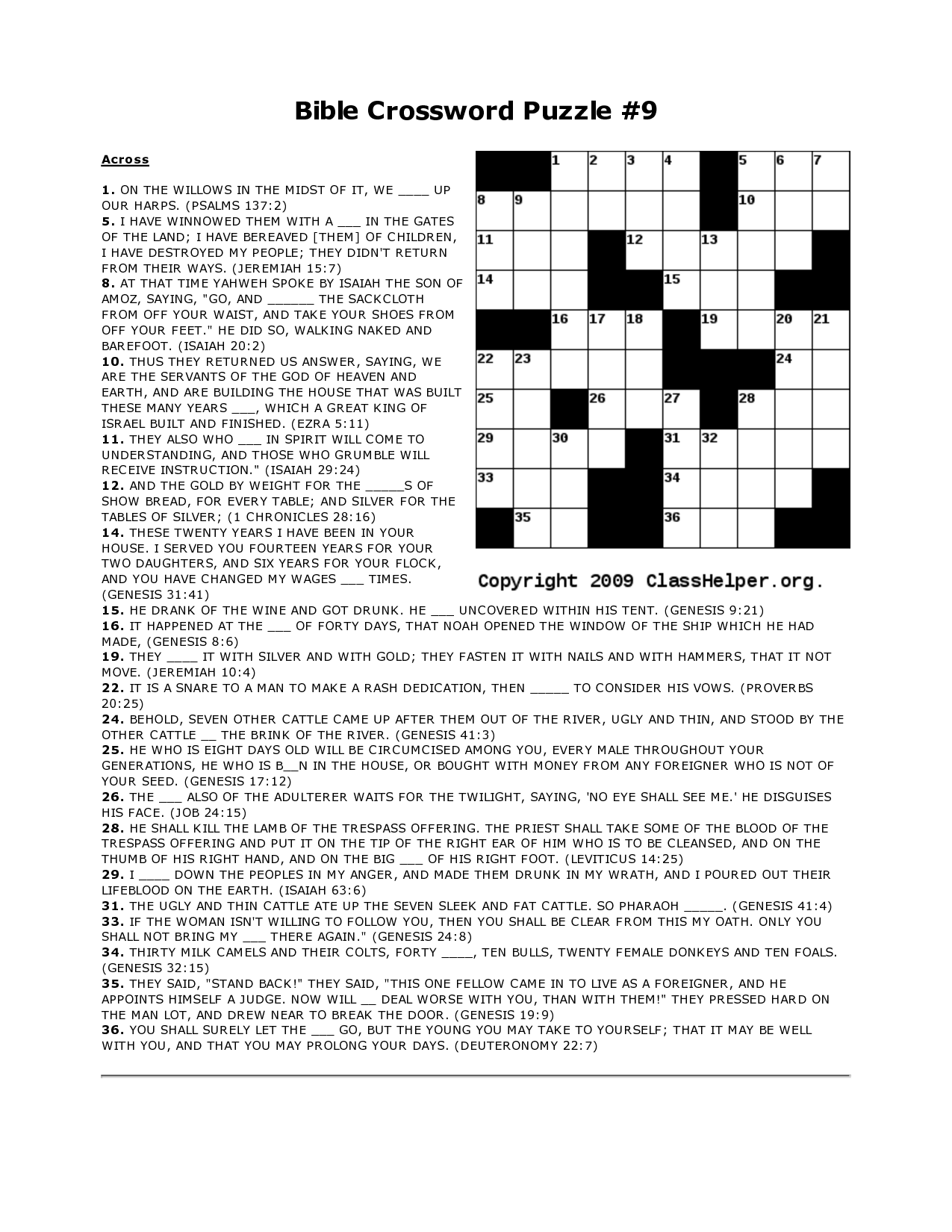 The Best Bible Crossword Puzzles Printable With Answers