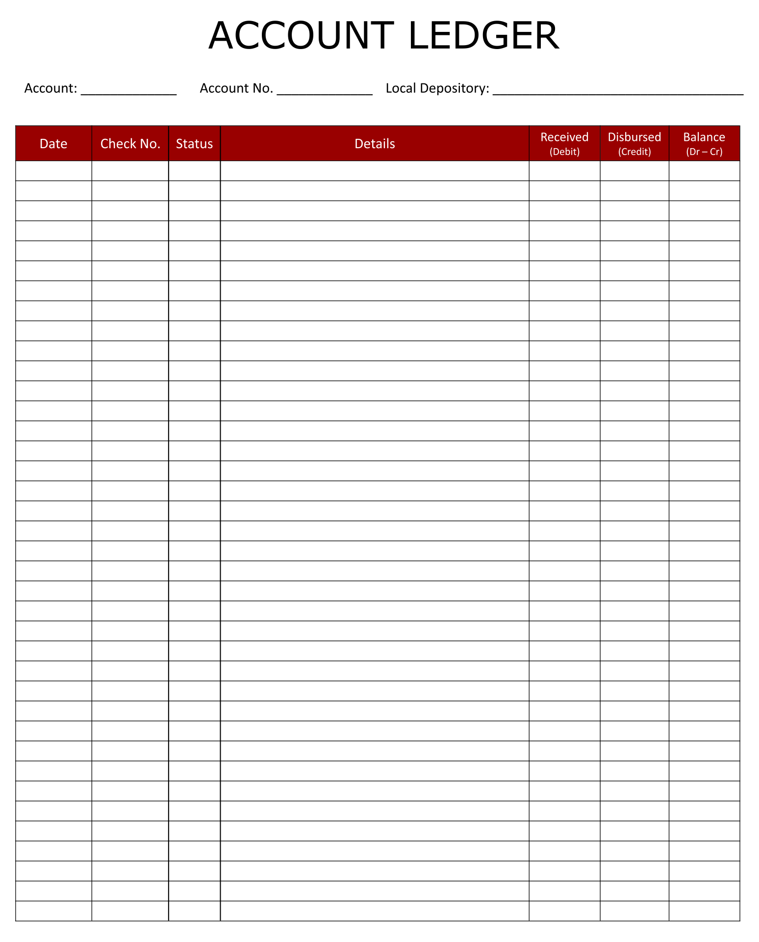 7 Best Images Of Accounting Ledger Template Printable