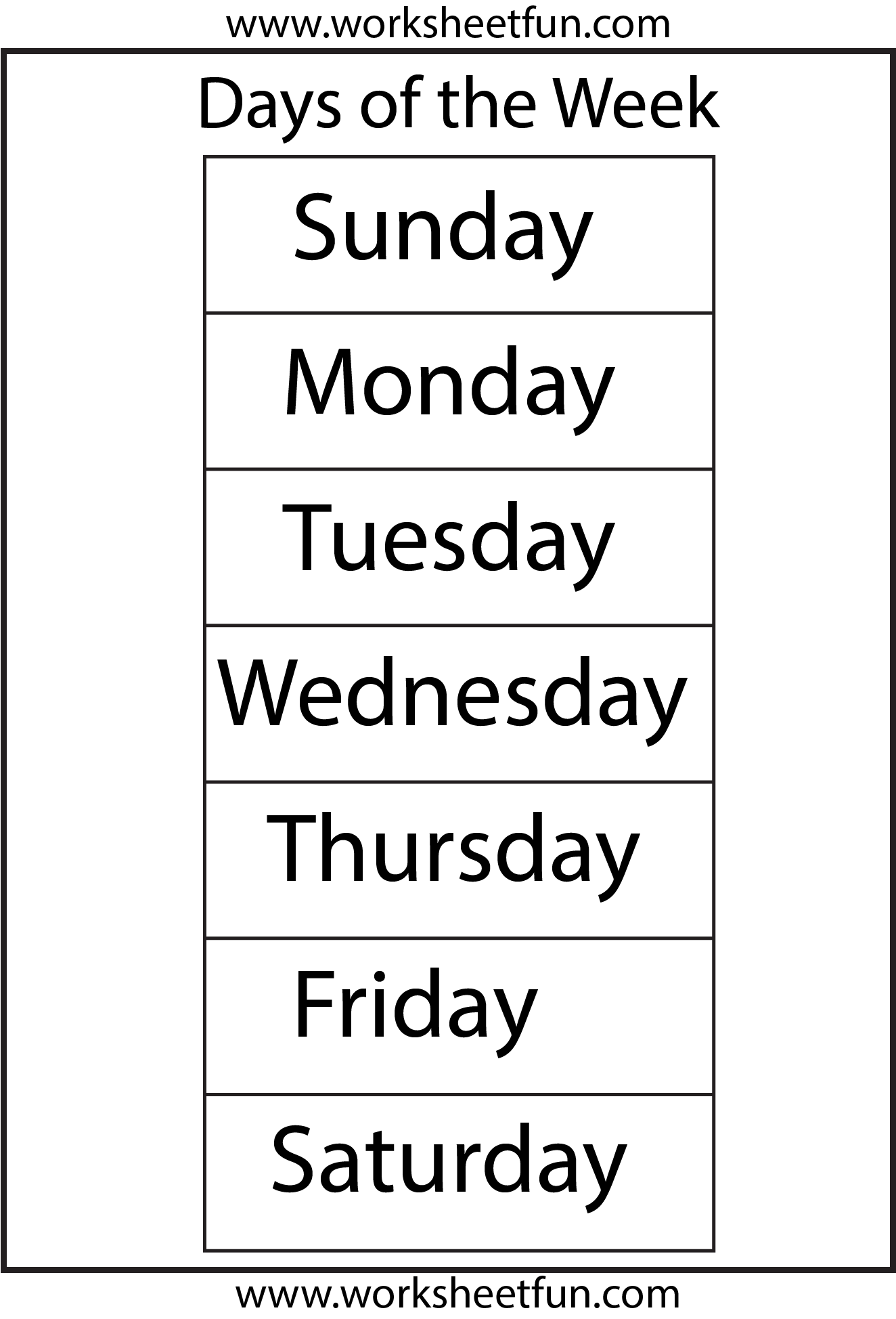 8 Best Images Of Days Of The Week Printable Worksheets