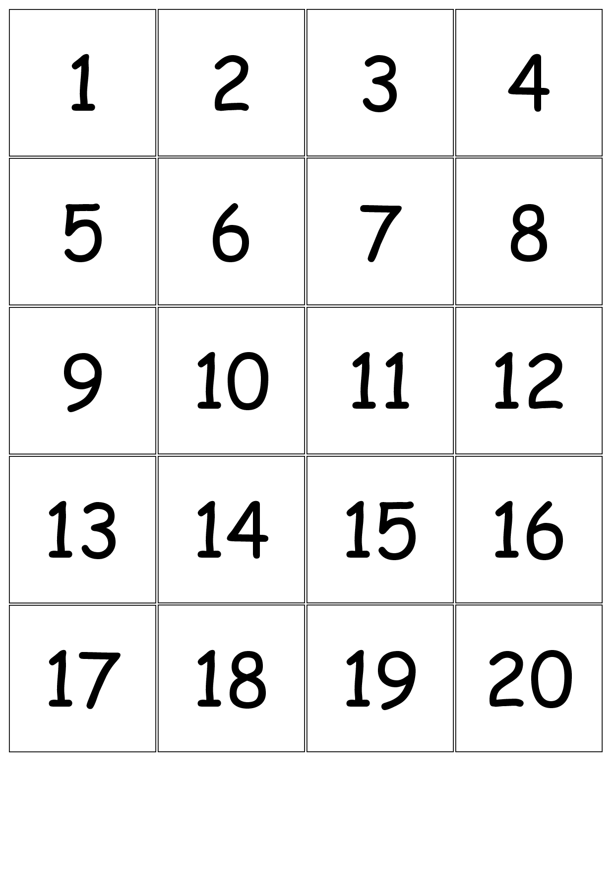 8 Best Images Of Printable Number Cards 1 20