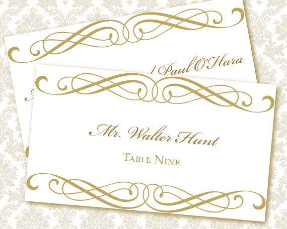 Design #4 Gold Border Wedding Place Card
