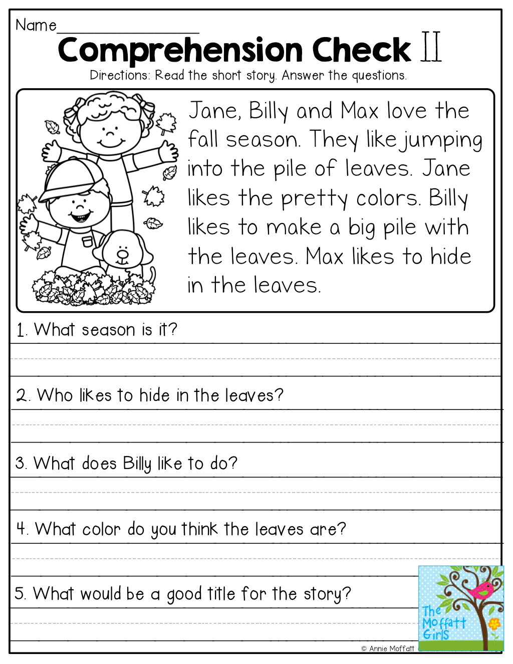 Reading Comprehension Worksheets 2st Grade