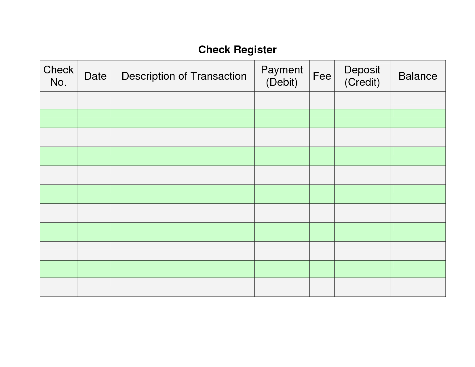 7 Best Images Of Personal Check Register Printable