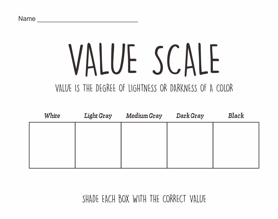 6 Best Images Of Value Scale Worksheet Printable