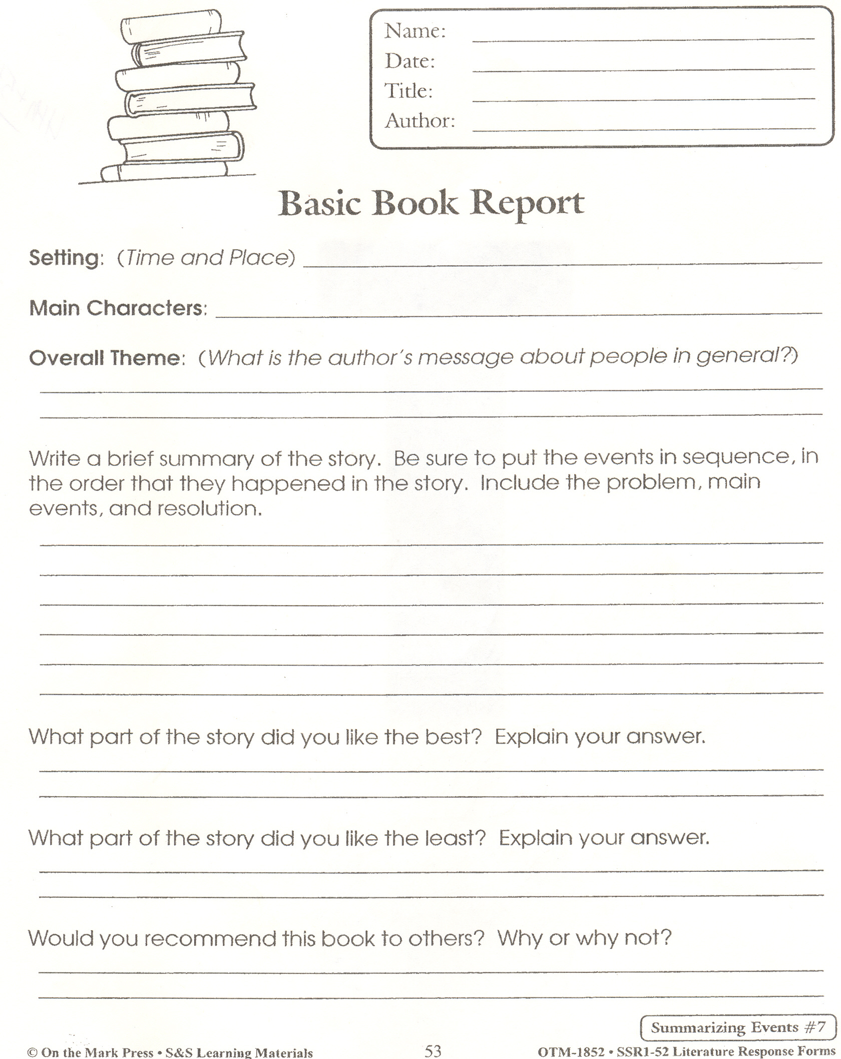 8 Best Images Of 5th Grade Book Report Printables