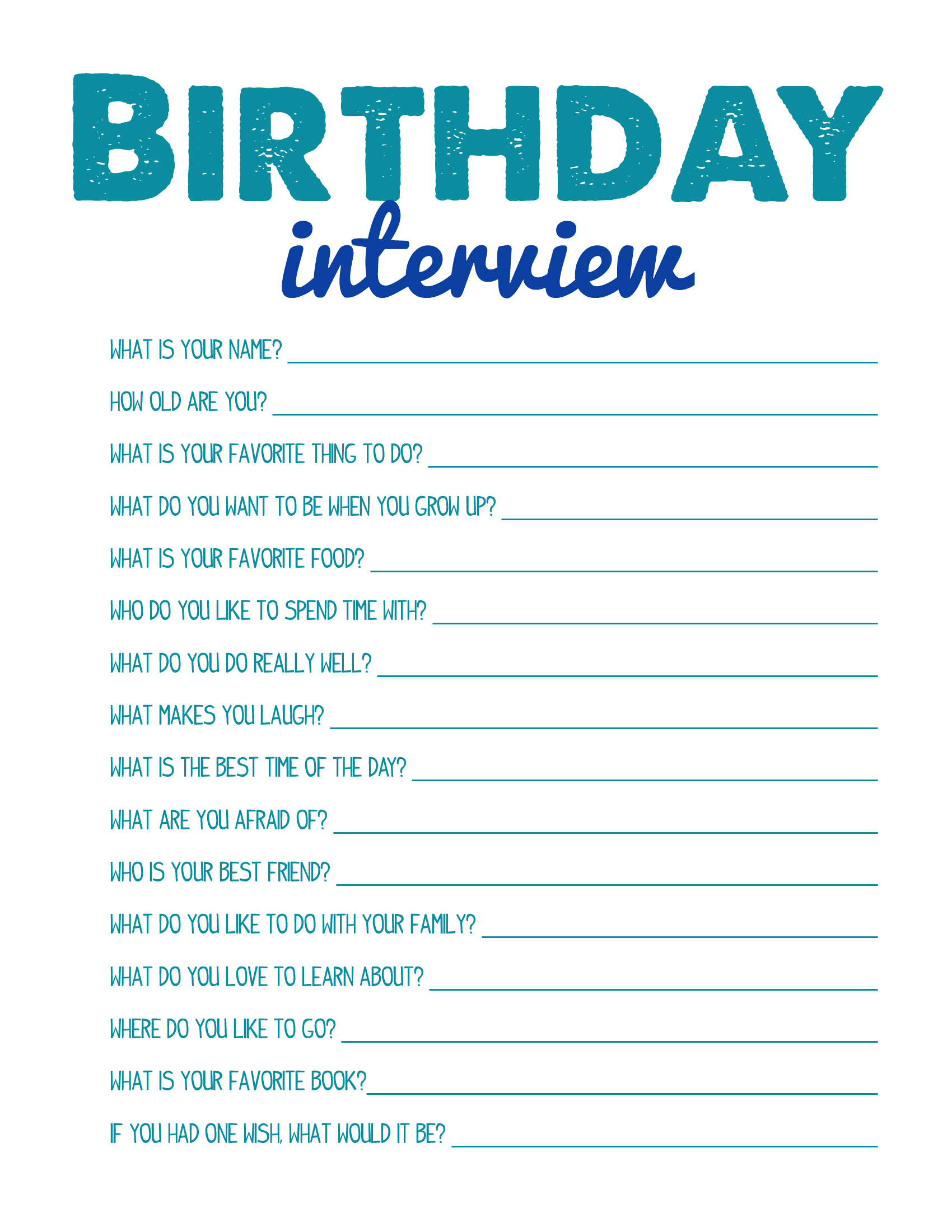 5 Best Images Of Printable Interview Questions Kids