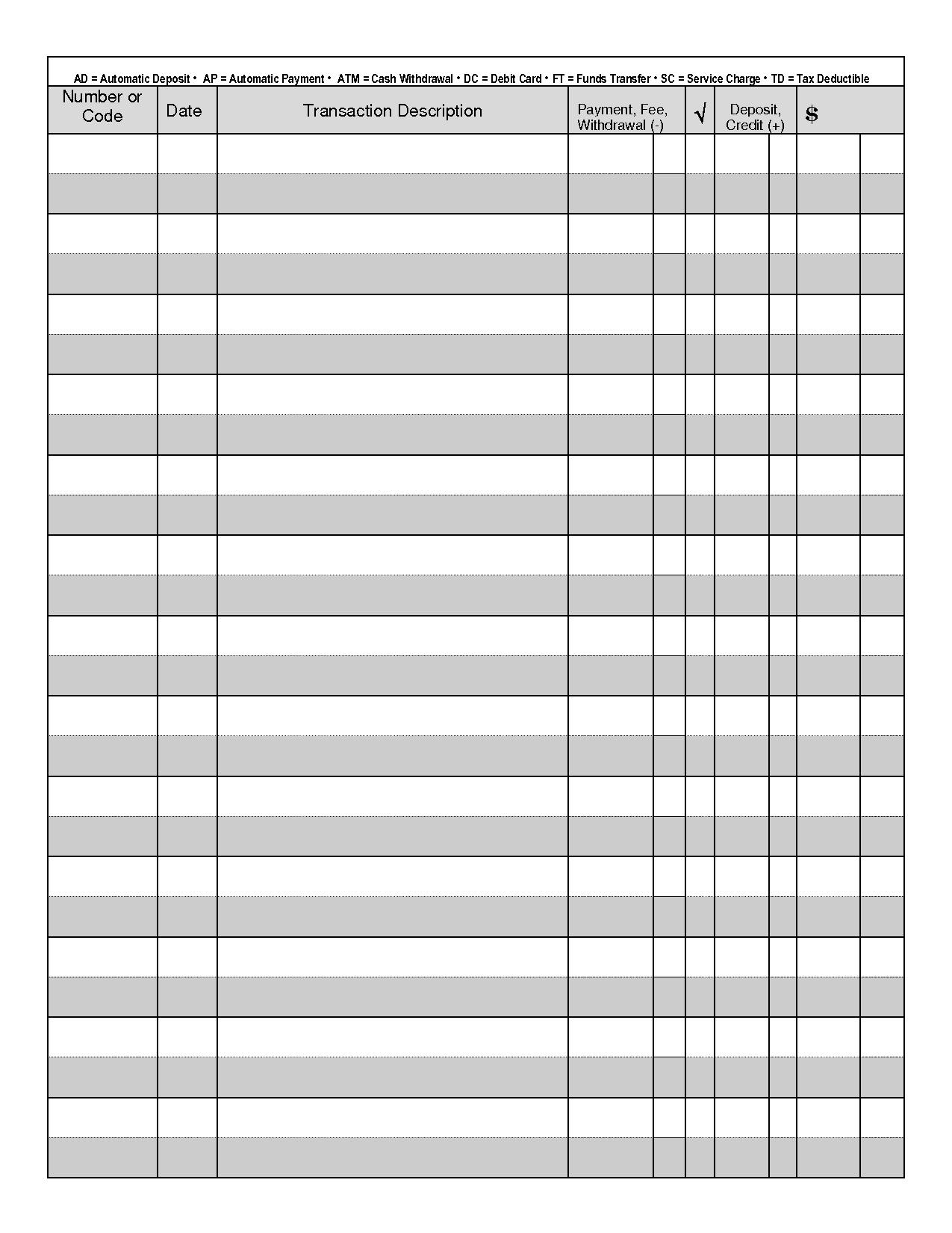 7 Best Images Of Free Printable Check Transaction Register