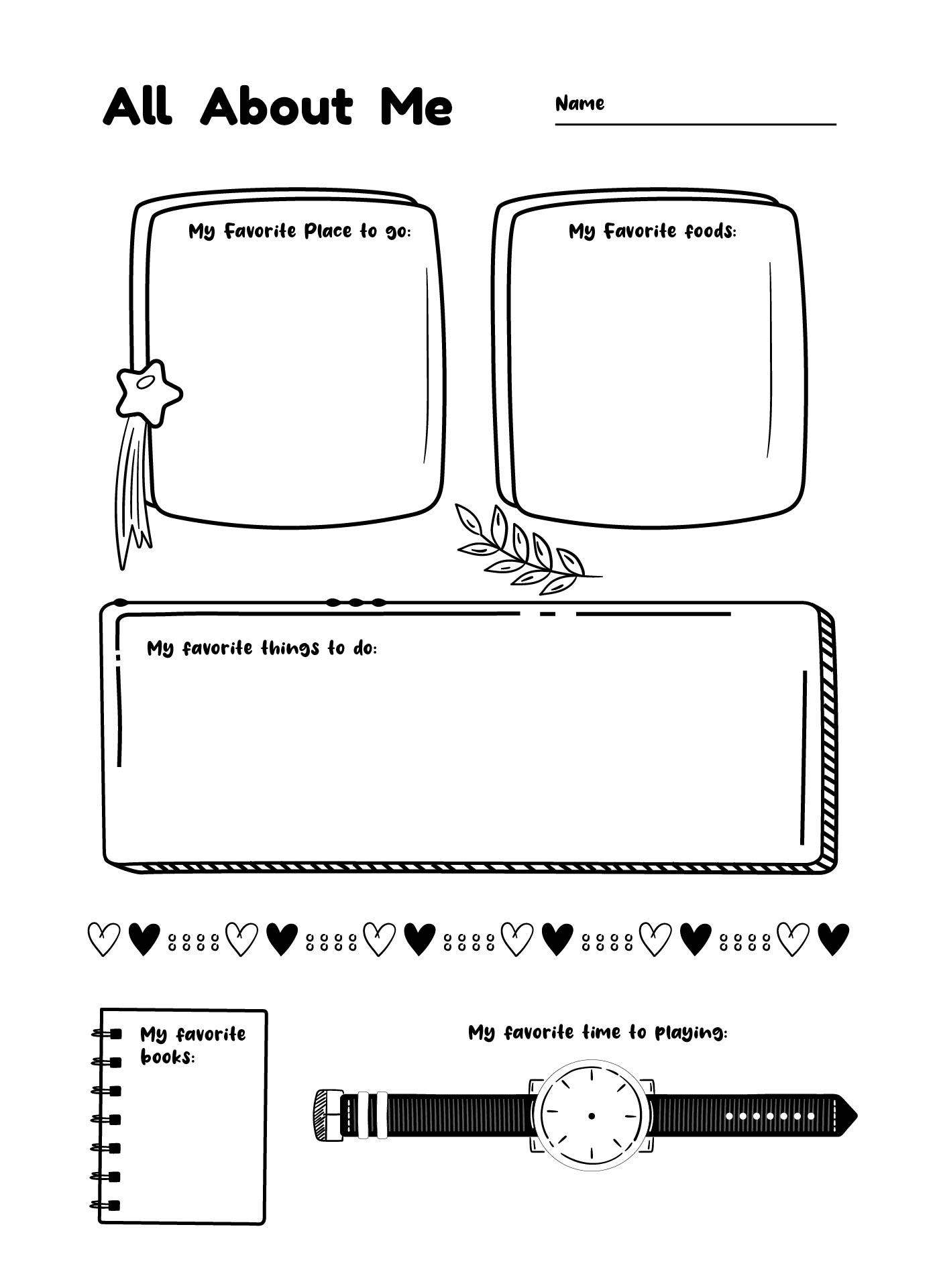 4 Best Images Of All About Me Back To School Printables
