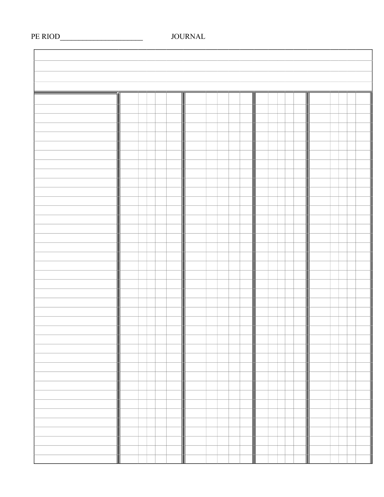 Free Printable 6 Column Template
