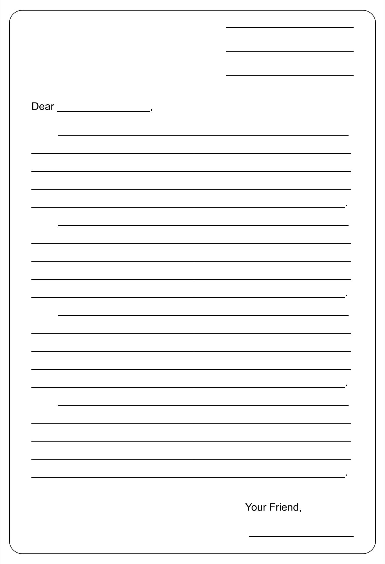 8 Best Printable Blank Template Friendly Letter