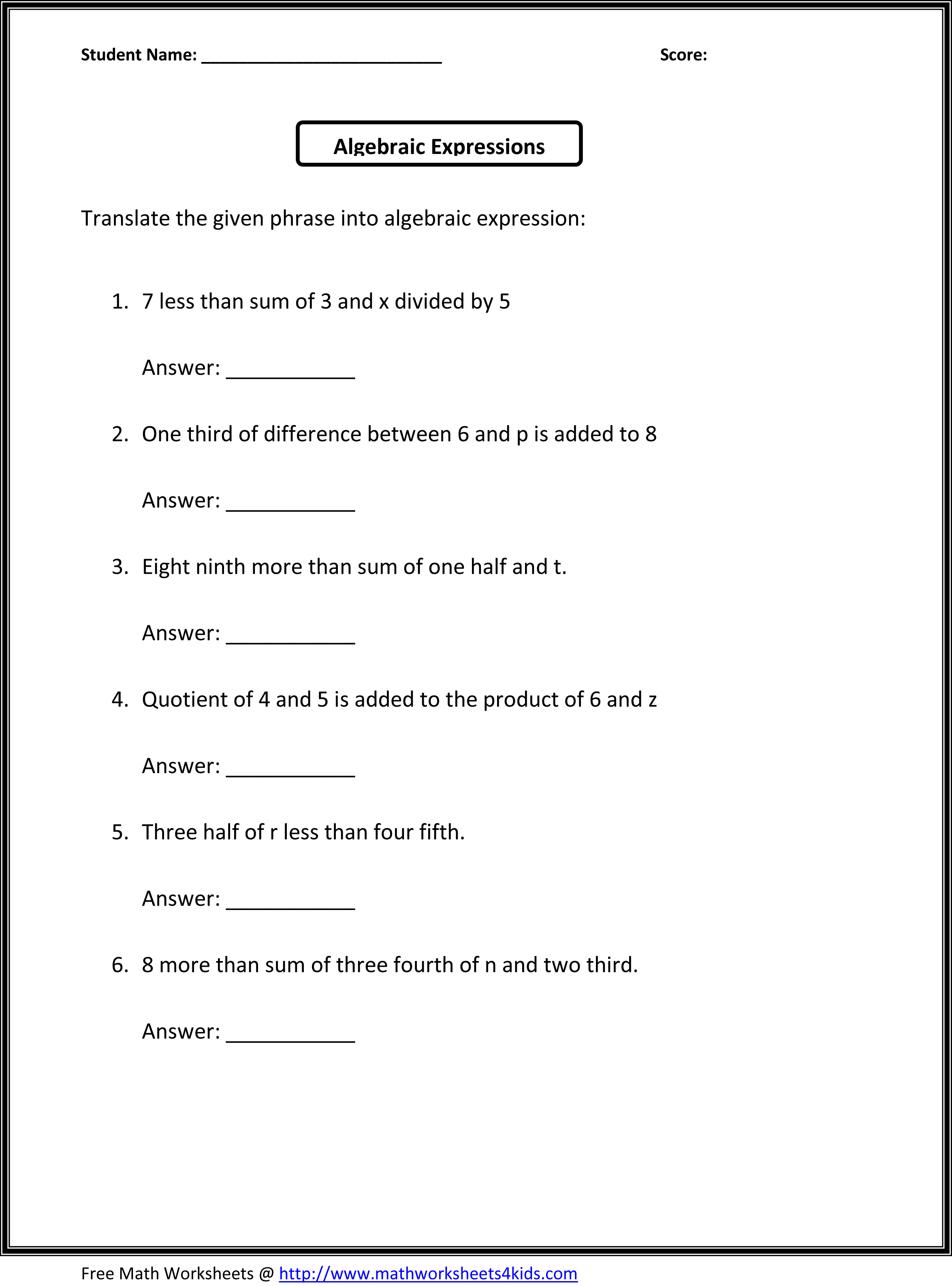 4 Best Images Of Six Grade Worksheets Free Printable
