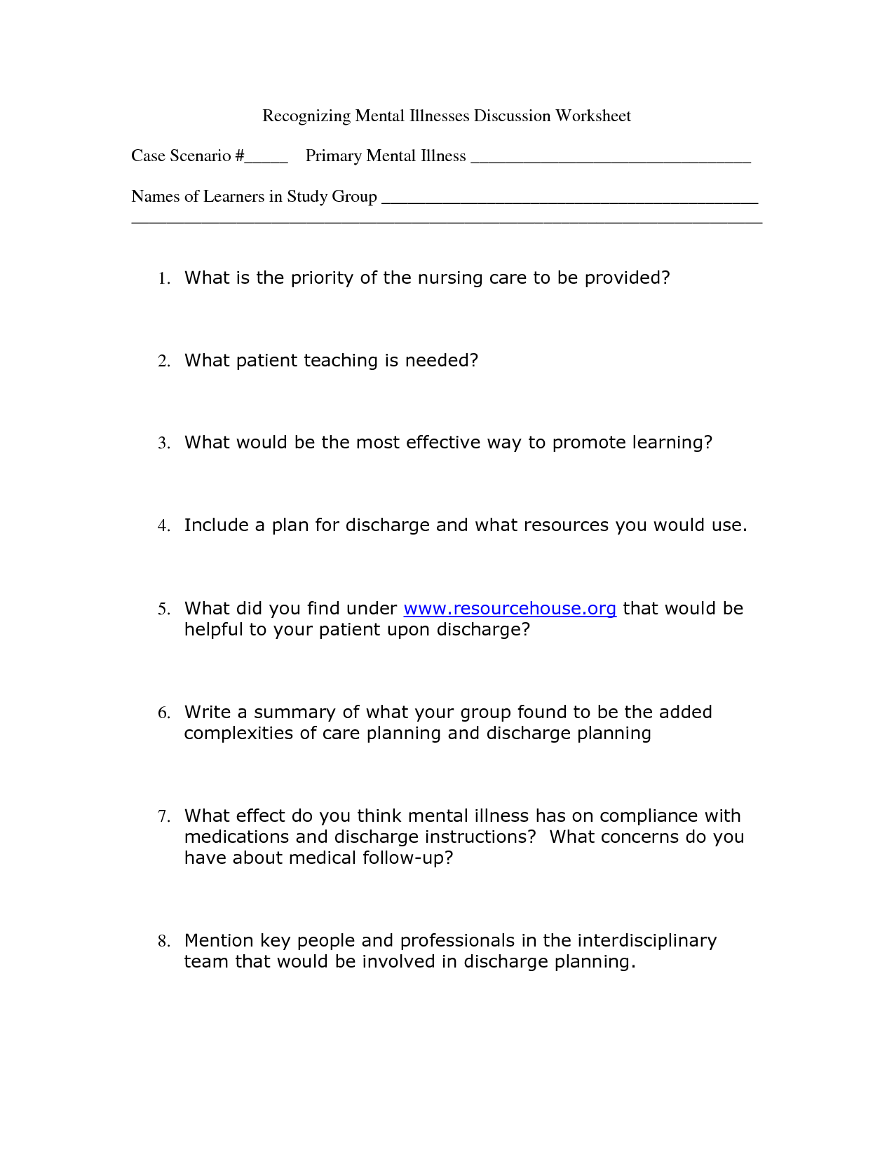 7 Best Images Of Adult Mental Health Worksheets Printable