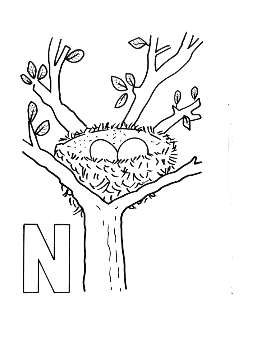 letter n coloring coloring pages