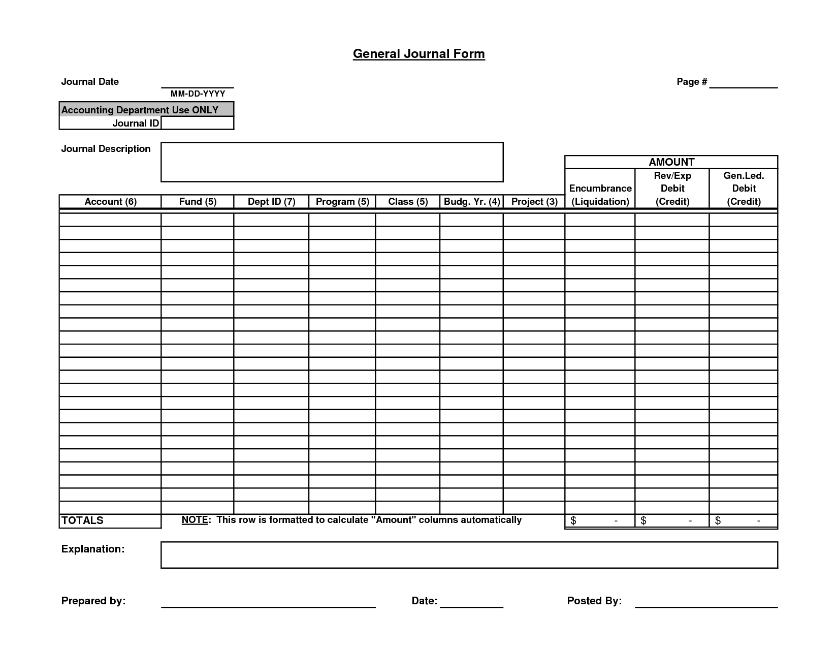 Blank Journal Entry Form