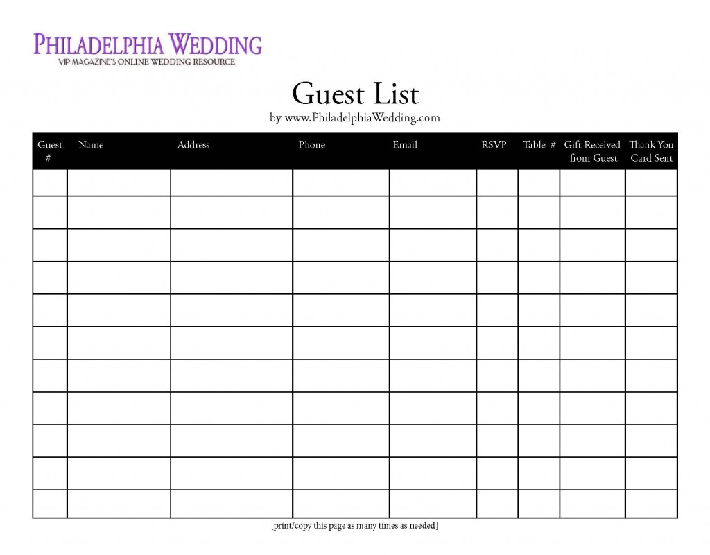 7 Best Images Of Wedding Guest List Form Printable